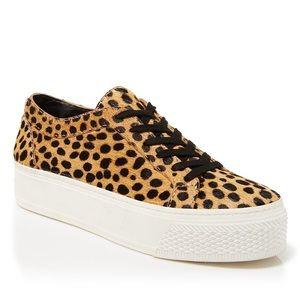 Miko calf-hair cheetah print platform sneakers
